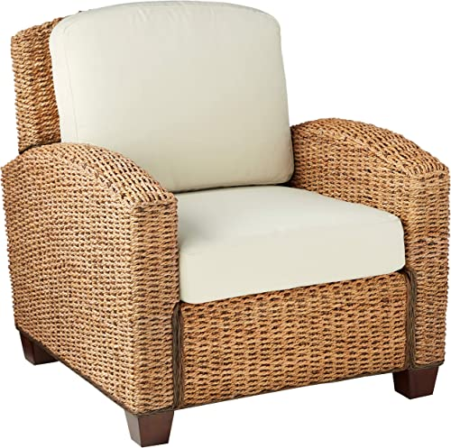 Home Styles Cabana Honey Chair Crafted from Hardwood and Woven Banana Leaves, Clear Coat Finish, Ecru Upholstered Cushions