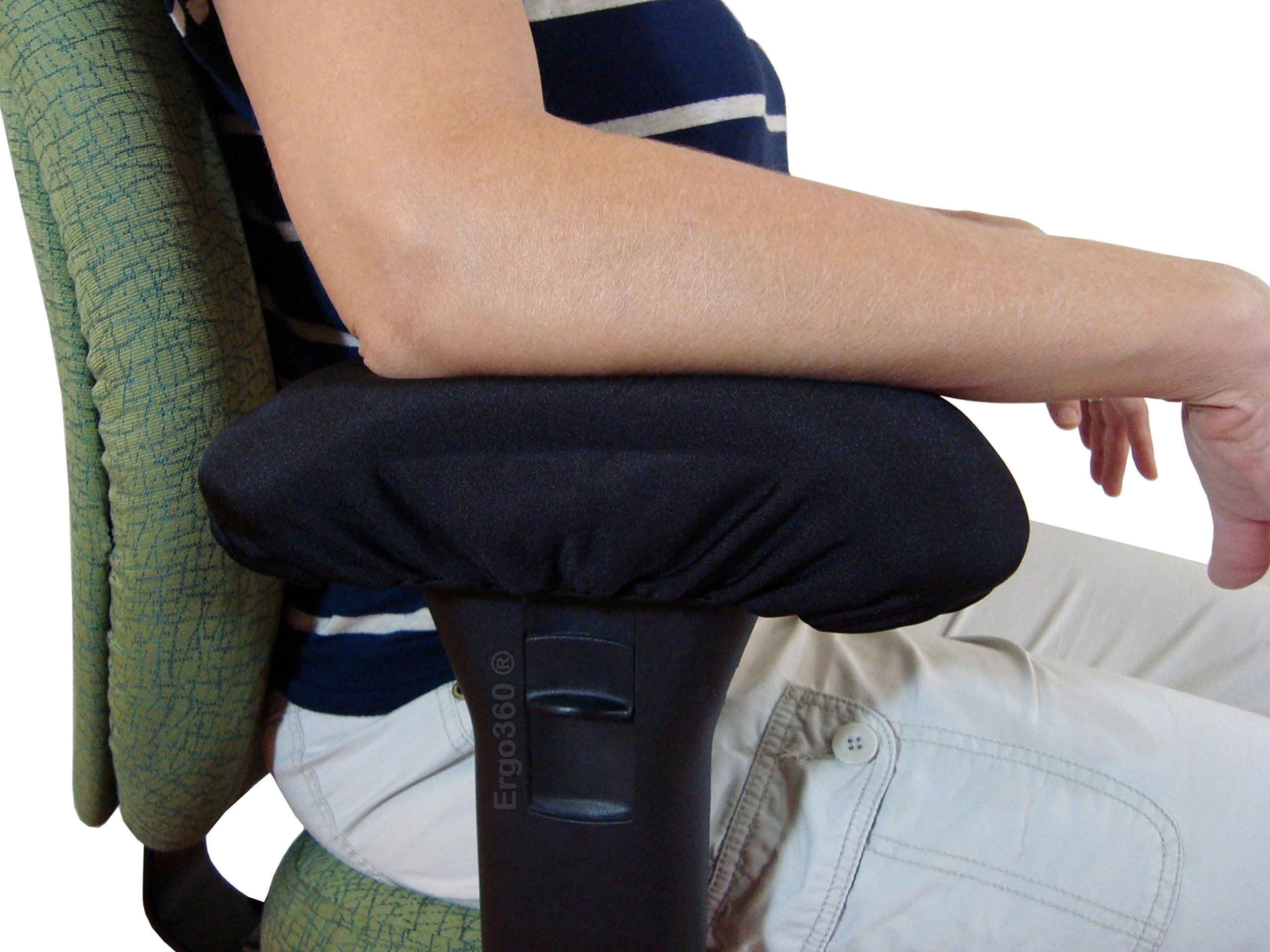 Ergo360 Chair Armrest Arm Pad Covers - Genuine High Density Memory Foam for Ultimate Elbow Comfort (2 Piece Set) by Ergo360