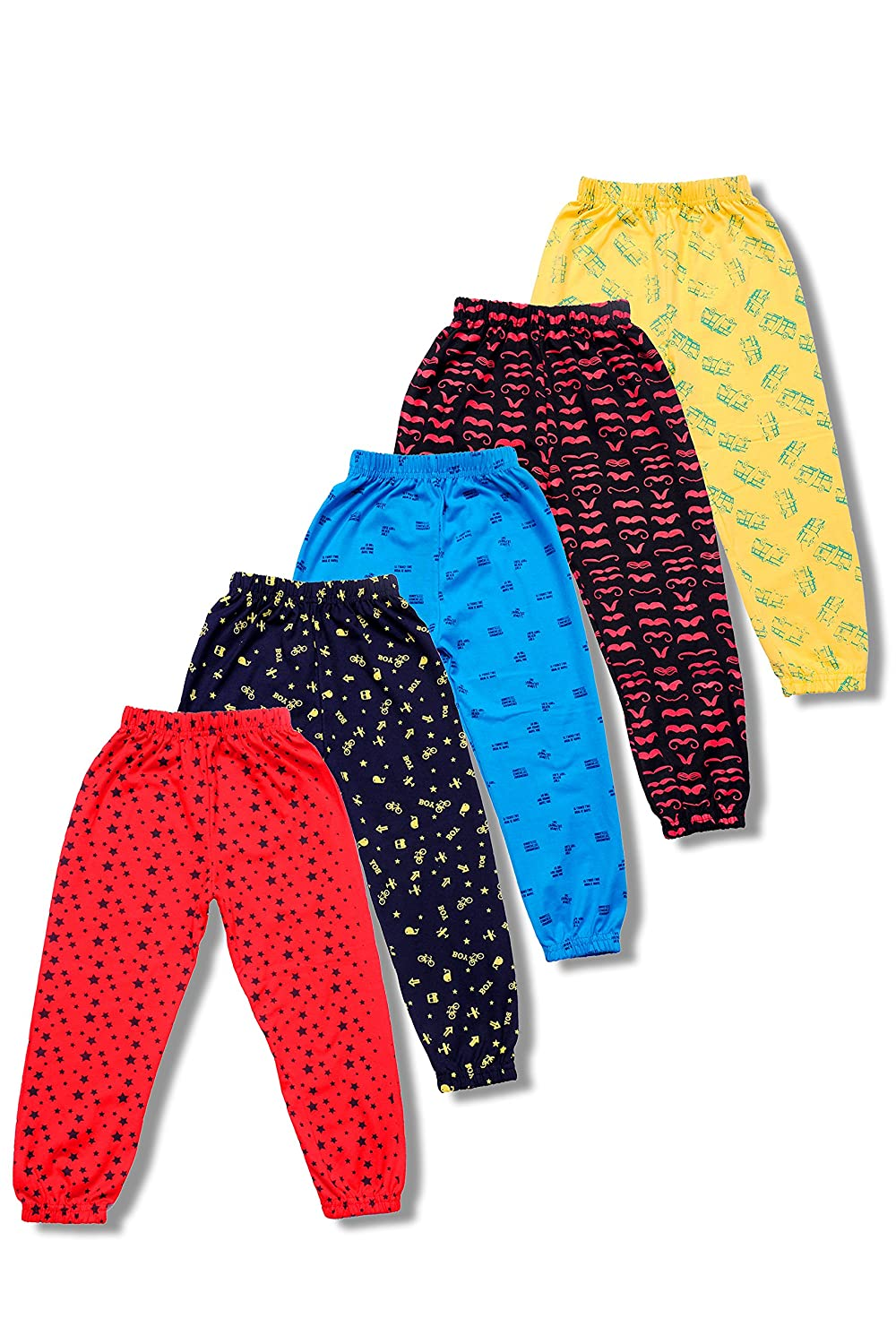T2F Boys' Printed Track Pant (Pack of 5, Multicolour)