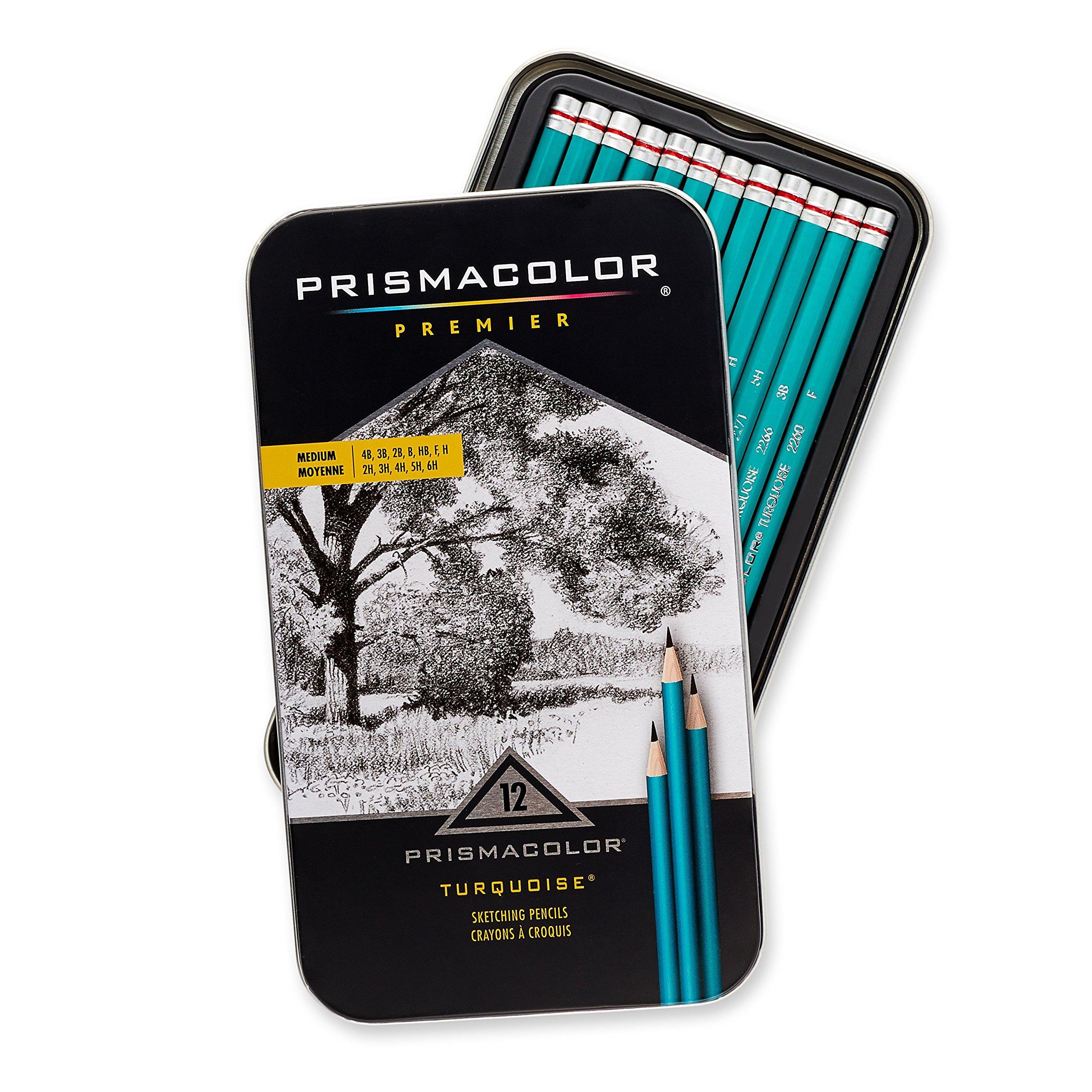 Prismacolor 24192 Premier Turquoise Graphite Sketching Pencils, Medium Leads, 12-Count by Prismacolor