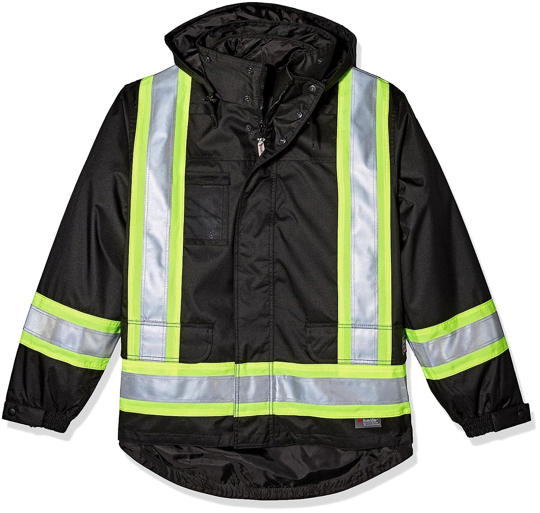 作業King安全高視認性断熱5 in 1ジャケット B071LMFZ3M XX-Small|ブラック ブラック XX-Small