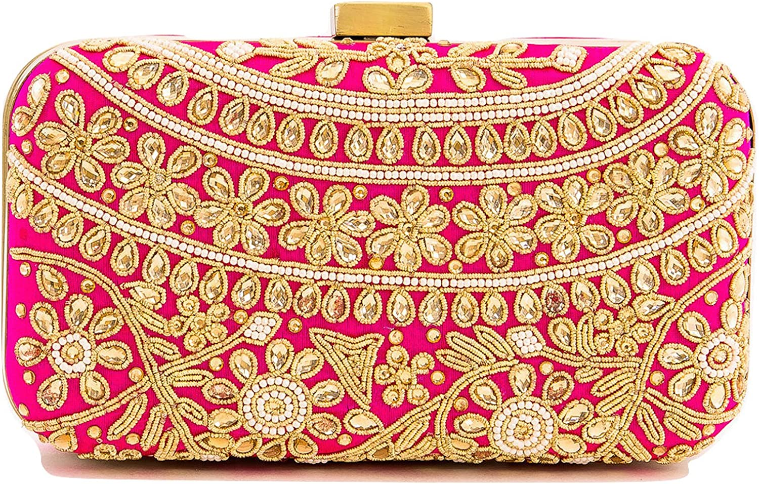 Indian Inspired Beaded Fuchsia Silk Clutch with Pearls and Crystals