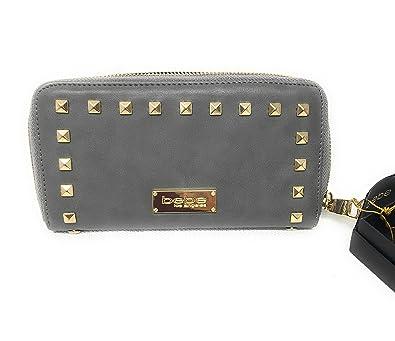 af5fd40e94 New BEBE Logo Large Zip Around Wallet Purse Hand Bag Clutch Grey ...