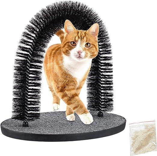 Relaxdays Rascador para Gatos, Arco Masajeador, Quita Pelos, Masaje Juguete Mascotas, 38 x 36 x 28,5 cm, Plástico, Negro: Amazon.es: Productos para mascotas