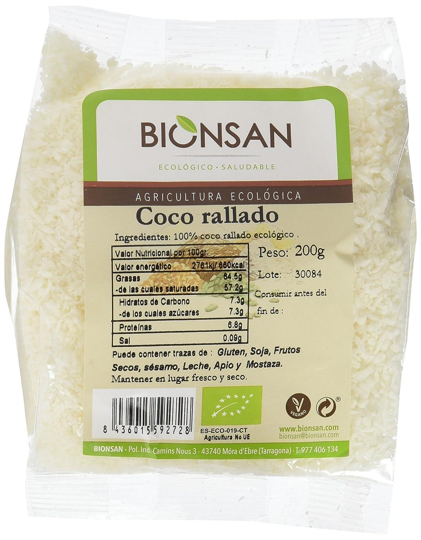 Bionsan Coco Rallado - 6 Paquetes de 200 gr - Total: 1200 gr: Amazon.es: Alimentación y bebidas