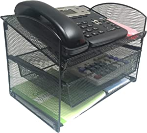 VANRA Metal Mesh Desktop Organizer Telephone Stand Phone Stand File Sorter Desk File Tray Organize File Folder Holder with Drawer, Black