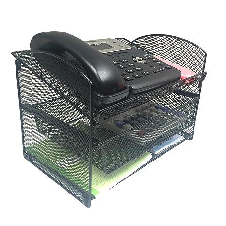 VANRA Metal Mesh Desktop Organizer Telephone Stand Phone Stand File Sorter  Desk File Tray Organize File