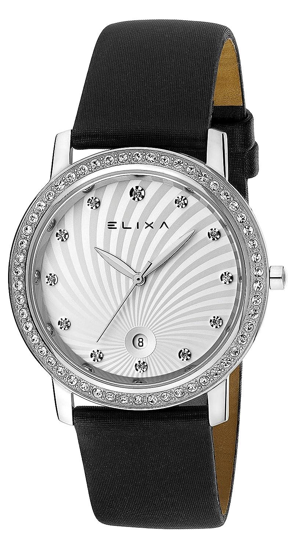 Elixa e044-l137 Damen Kristall mit Akzenten Uhr Finesse Sonnenstrahl Zifferblatt LÜnette Schwarz