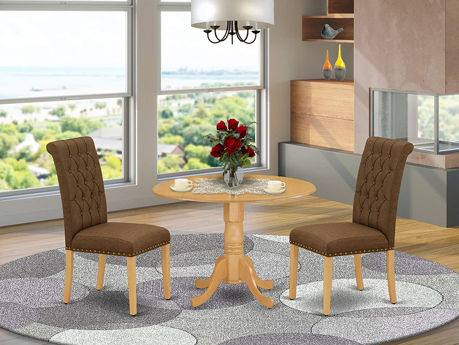 East West Furniture 3Pc Dinette Set Includes a Rounded Kitchen Table with Drop Leaves and Two Parson Chairs with Dark Coffee Fabric, Oak Finish