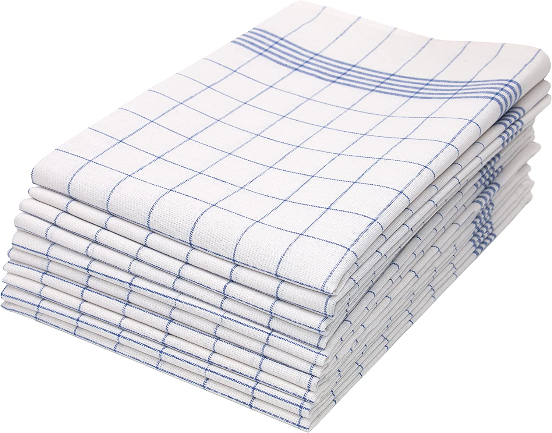 ZOLLNER 10 Trapos de Cocina algodón 100%, a Cuadros Azules y Blancos, 50x70 cm