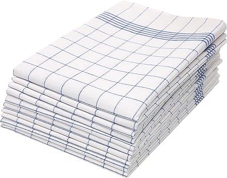ZOLLNER 10 Trapos de Cocina algodón 100%, a Cuadros Azules y ...