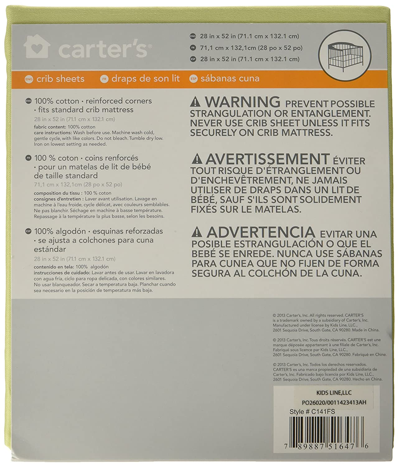 Amazon.com : Carters Satten Fitted Crib Sheet, Apple Green (Discontinued by Manufacturer) : Nursery Bedding : Baby