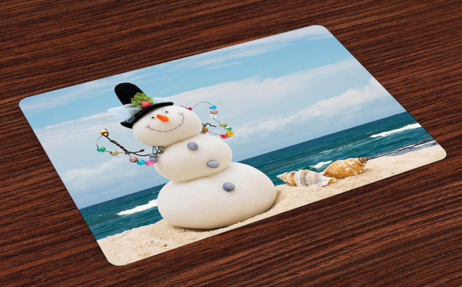 Ambesonne Snowman Place Mats Set of 4, Winter Vacation Holiday Theme Snowman with Seashells Sitting on Sandy Beach Coastal, Washable Fabric Placemats for Dining Room Kitchen Table Decor, Multicolor