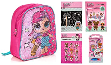 LOL Surprise - Mochila Infantil Lilac/Blue Mermaid/Superhero Sequin Backpack Bundle: Amazon.es: Equipaje
