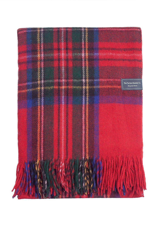 The Tartan Blanket Co. Couverture recyclée en laine – style tartan écossais Stewart Royal