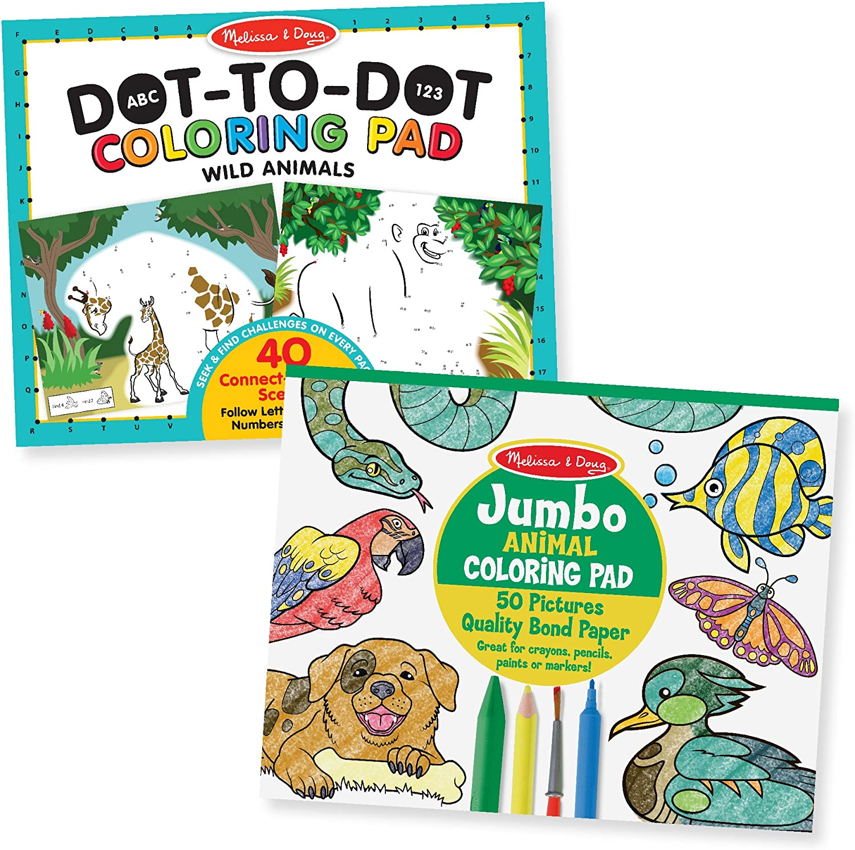 Melissa & Doug Animal Coloring Pad 2 Pack - ABC-123 Dot-to-Dot, Jumbo Pad, 14 x 11 Each, Multicolor