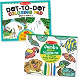 "Melissa & Doug Animal Coloring Pad 2 Pack - ABC-123 Dot-to-Dot, Jumbo Pad, 14 x 11"" Each, Multicolor"