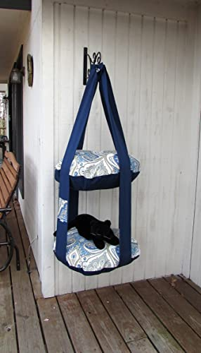 Charmant Hanging Cat Bed, Navy Blue Paisley Print, Double Cat Bed, Kitty Cloud,