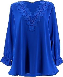 Charleselie94® - Tunique Blouse Chic crêpe Dentelle Bleu Royal NIRINA Bleu 7cba6f6d2a7