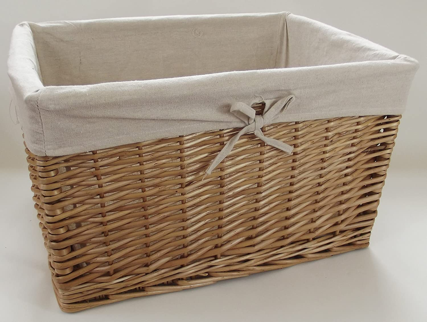 Deep basket natural wicker colour lined large size 3 with removable lining. storage