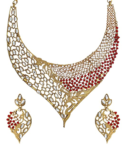 Zaveri Pearls Multicolor Non-Precious Metal Choker Necklace with Drop Earrring Set for Women Women's Jewellery Sets at amazon