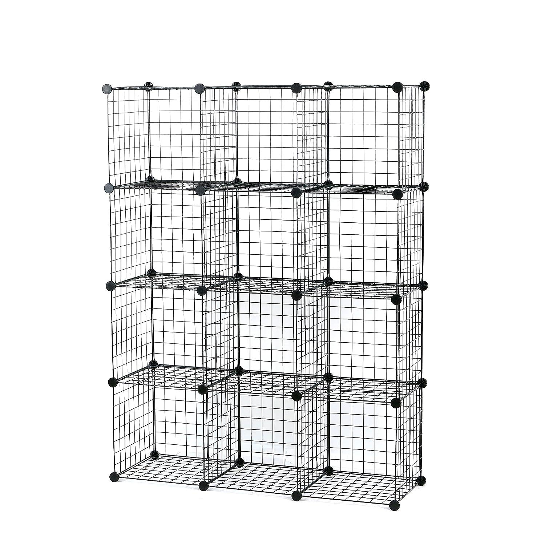 UNICOO - Multi Use DIY 6 Cube Wire Grid Organizer,Cube Storage, Bookcase, Bookshelf, Storage Organizer, Toy Organizer - (Black Wire) UBOXWIREB3535-06