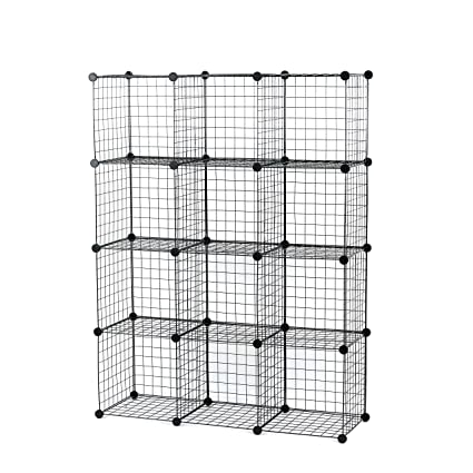 Ordinaire UNICOO   Multi Use DIY 12 Cube Wire Grid Organizer, Bookcase, Bookshelf,  Storage