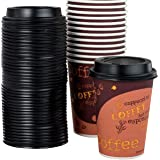 Restaurant Grade 12 Oz Paper Coffee Cups With Recyclable Dome Lids. 100 Pack By Avant Grub. Durable, BPA Free Disposable Desi