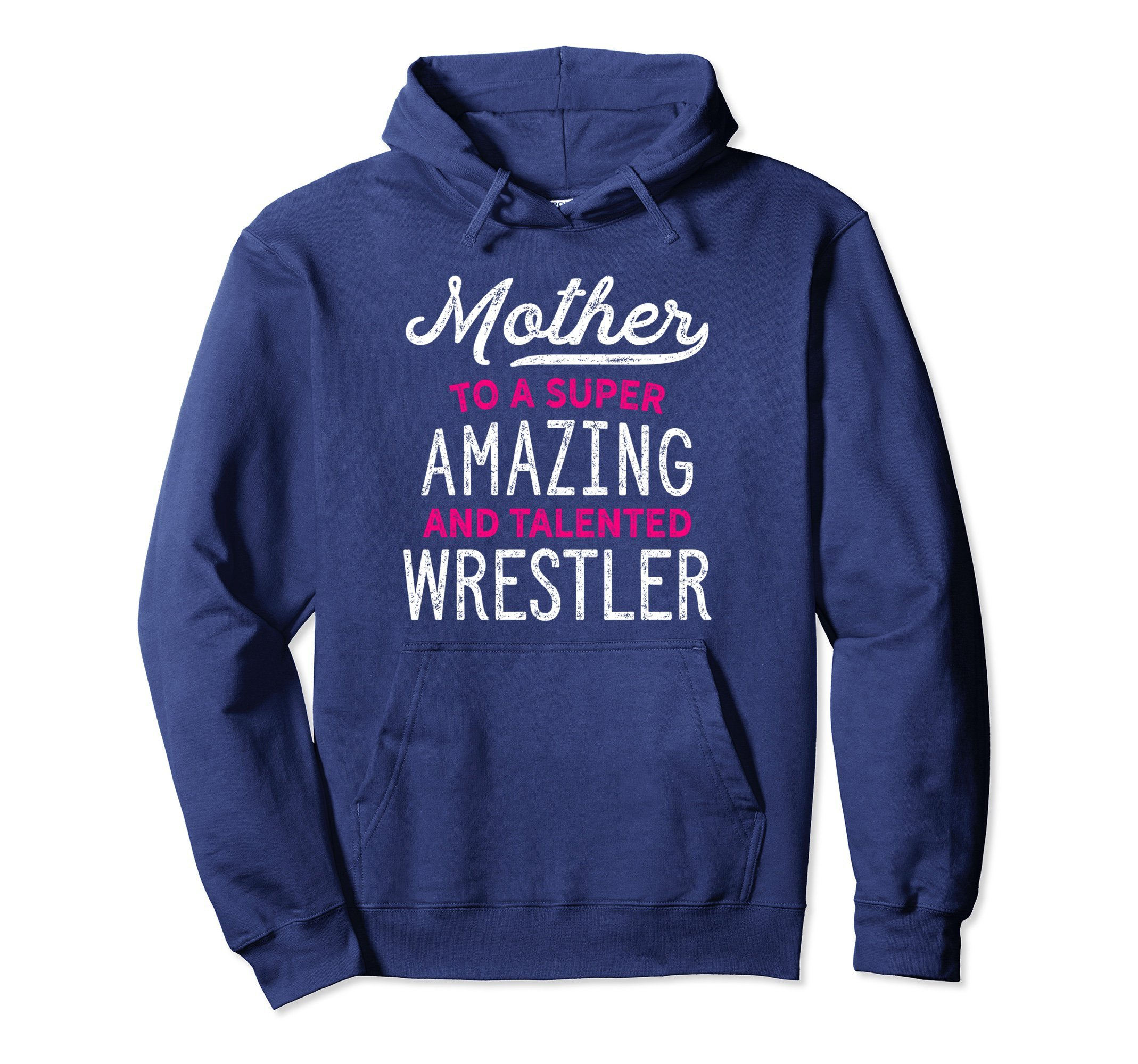 Unisex Wrestling Mother Hoodie for Wrestle Moms, Cute Gift, Pink 2XL Navy