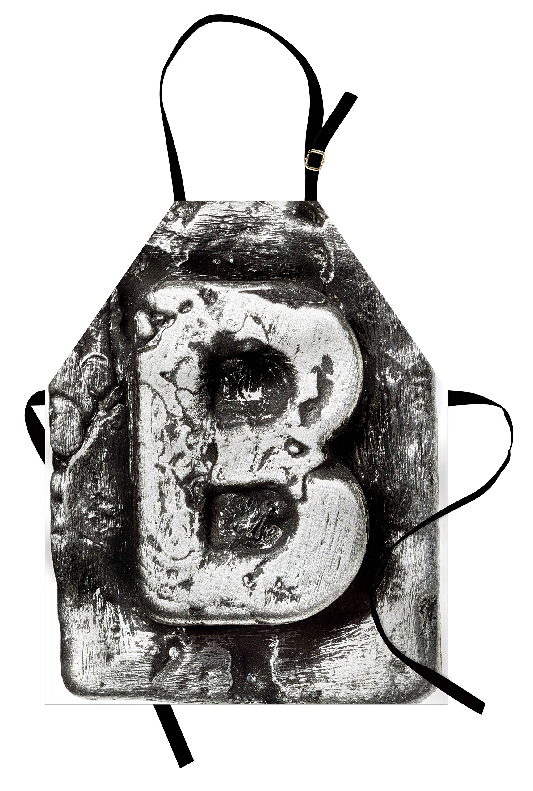 Ambesonne Letter B Apron, Steel Aged B with Toned Cracks and Distressed Effects Ceramic Inspired Print, Unisex Kitchen Bib Apron with Adjustable Neck for Cooking Baking Gardening, Silver Grey