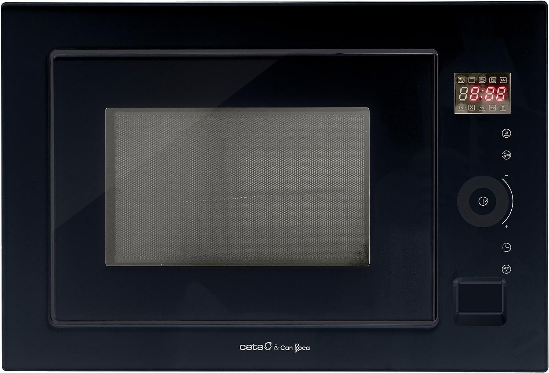 Cata & Can Roca, Microondas Encastrable, Capacidad de 25 L, Modelo MC 25 GTC BK, Temporizador, Microondas Con Grill, Ancho de 60 cm, Acabado en Cristal Negro
