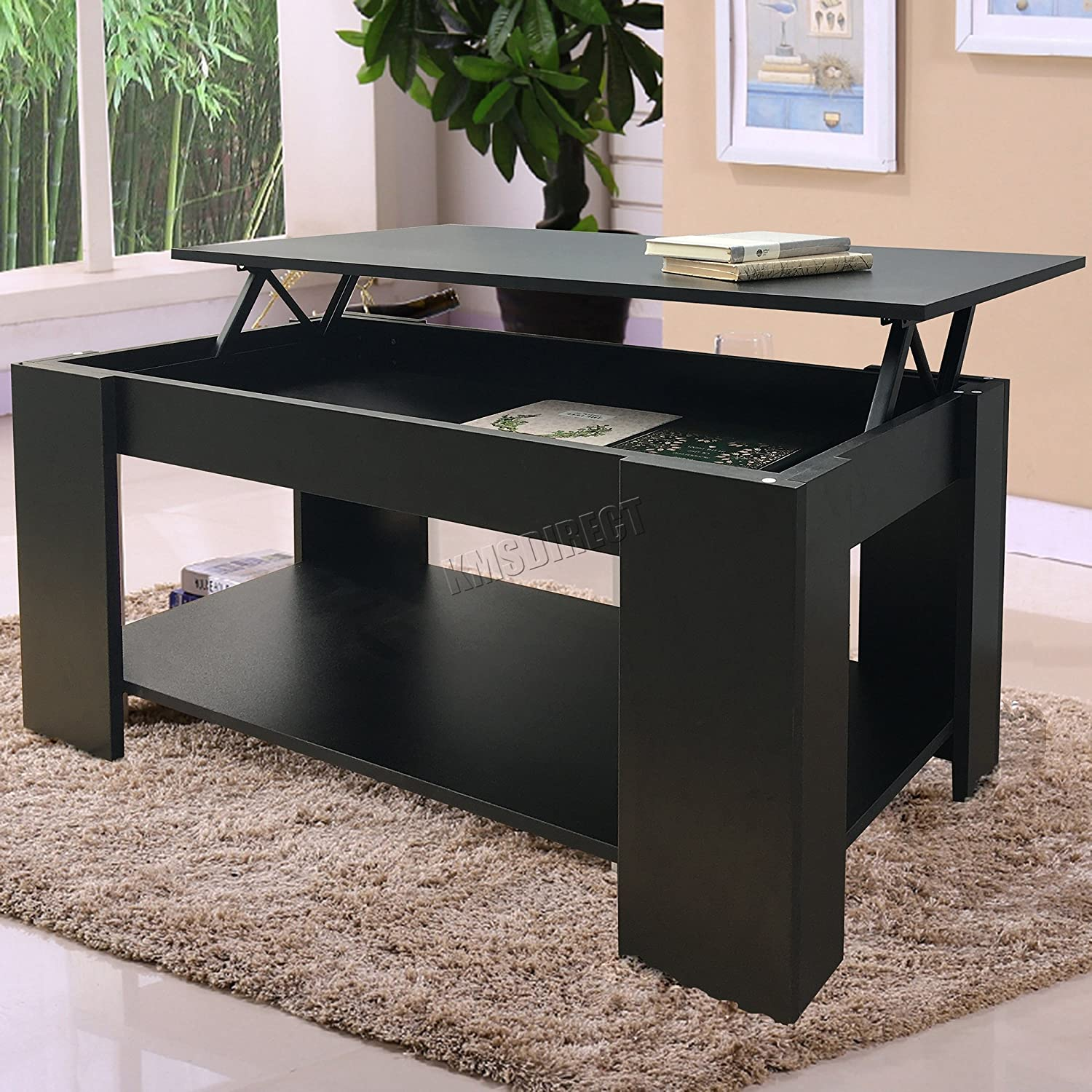 - FoxHunter Lift Up Top Coffee Table With Storage And Shelf Living