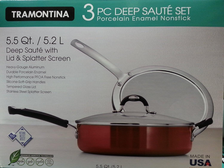 Amazon.com: Tramontina 3 Piece Deep Saute Set w/ Lid & Splatter ...