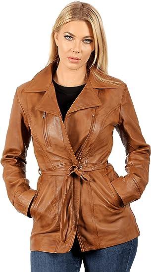 Womens biker real leather jacket TAN slim fit zip up best TOP QUALITY coat