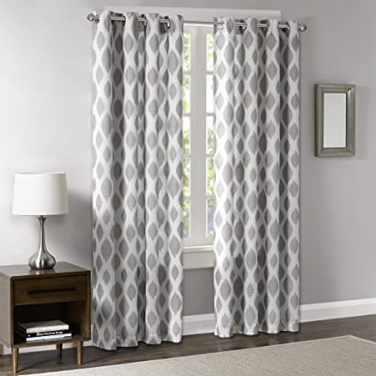 Blackout Curtains for Bedroom, Modern Contemporary Silver Sheer Window  Curtains for Living Room Family Room, Stella Woven Grommet Room Darkening  Black ...