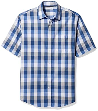 c2bc2ee12ff Amazon Essentials Men s Regular-Fit Short-Sleeve Check Casual Poplin Shirt
