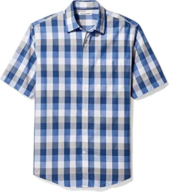 Amazon Essentials - Camisa de cambray de manga corta para hombre