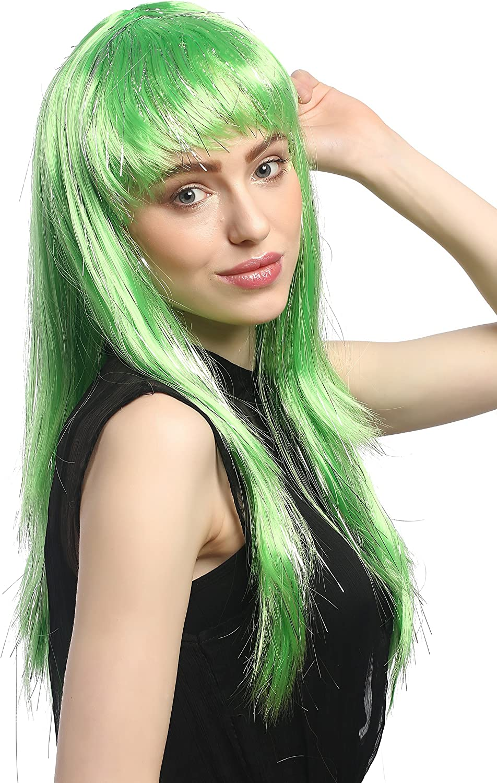 WIG ME UP XR-003-PC15 Parrucca Carnevale Donna NINFA Lunga Liscia Frangetta Verde+Ciocche Glitterate Argentate Circa 55 cm