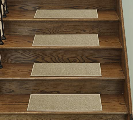 Casatreads Beige 14 Piece Stair Tread Set   Non Slip Rubber Backed Stair  Mats (9u0026quot