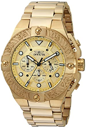 Invicta Mens Pro Diver Quartz Stainless Steel Casual Watch, Color:Gold-