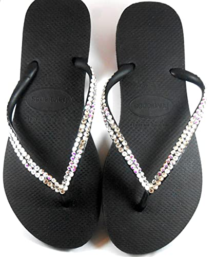 e7f70c462 Havaianas Slim Flip Flops with AB and Clear Swarovski crystals 2 Rows SS20  4.8 mm SPARKLING for women Sandals Flat Shoes Beach Wedding Bridal Gift My  unique ...