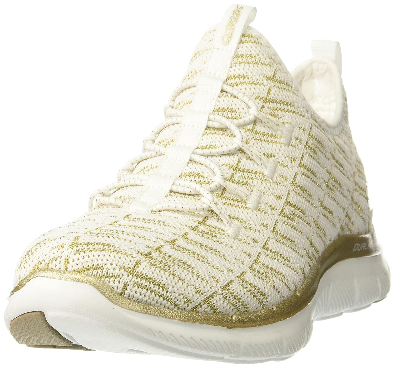 Skechers Flex Appeal 2.0-Insights, Hausschuhe sin Cordones para damen Weiß, Dorado