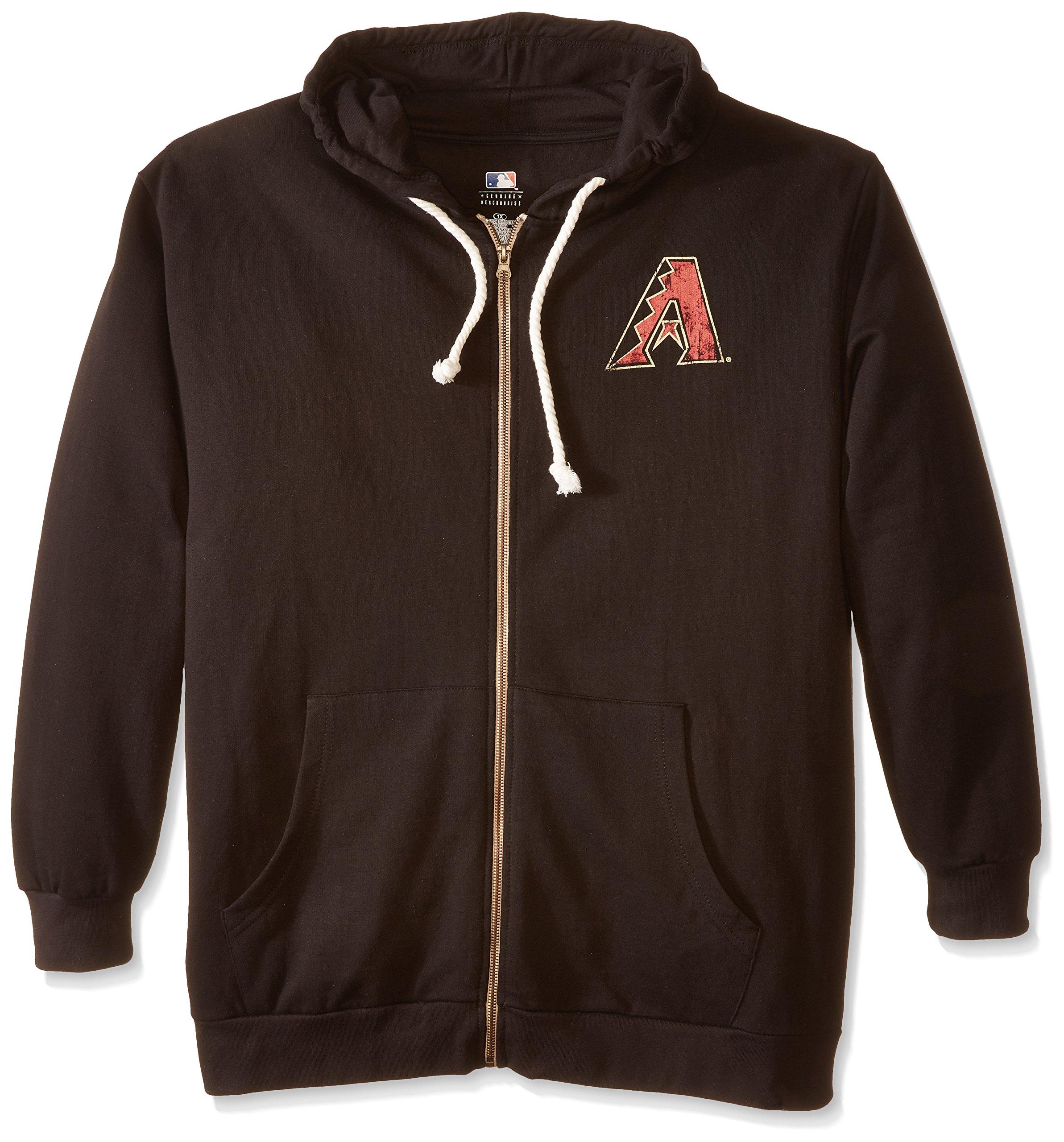 MLB Arizona Diamondbacks Women's Plus Size Zip Hood with Logo, 2X, Black by Profile Big & Tall