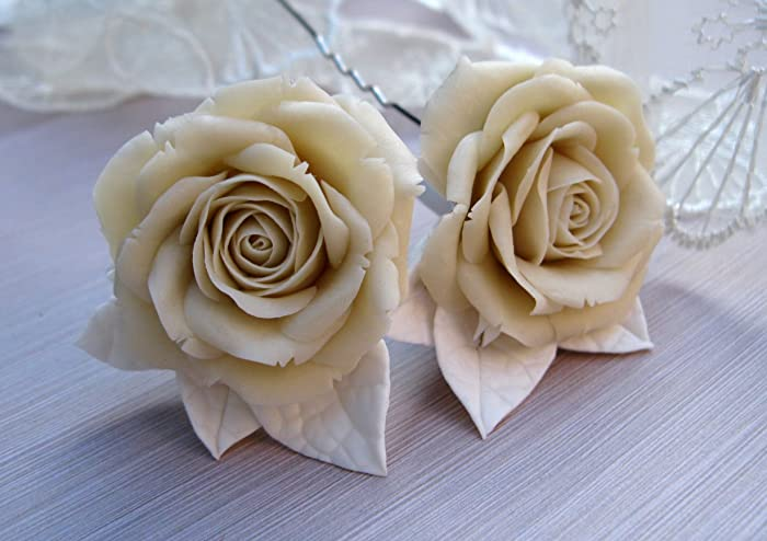Amazon Ivory Rose Hair Accessories For Wedding Bridal Flower