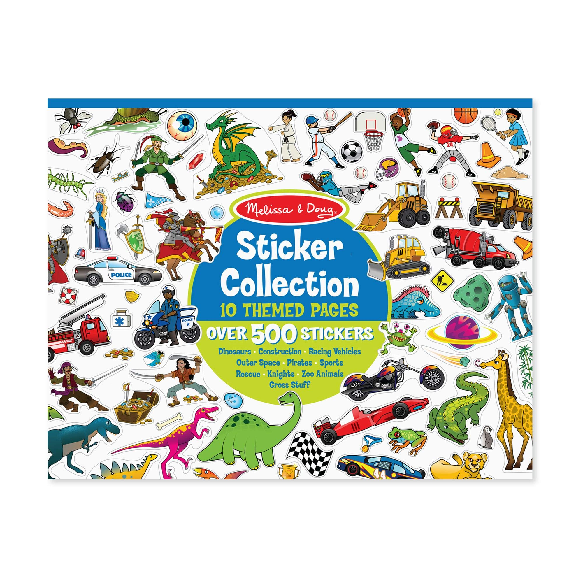 Melissa & Doug Sticker Collection Book, Arts & Crafts, Dinosaurs, Vehicles, Space, and More, 500+ Sticker Animals, 14″ H × 11″ W × 0.2″ L