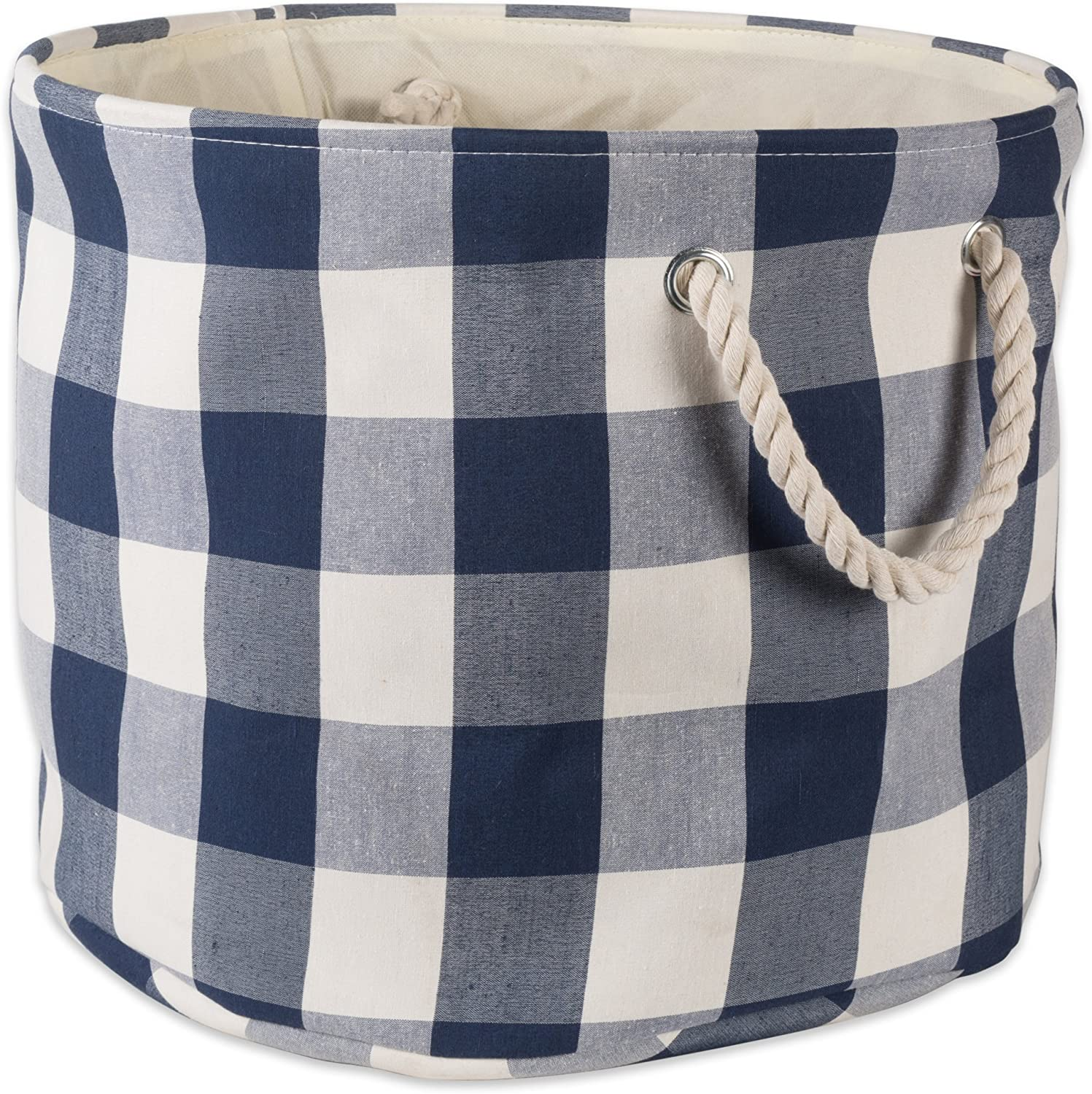DII CAMZ10464 Polyester Storage Basket or Bin with Durable Cotton Handles, Home Organizer Solution for Office, Bedroom, Closet, Toys, Laundry, Large Round, Navy & Off-White