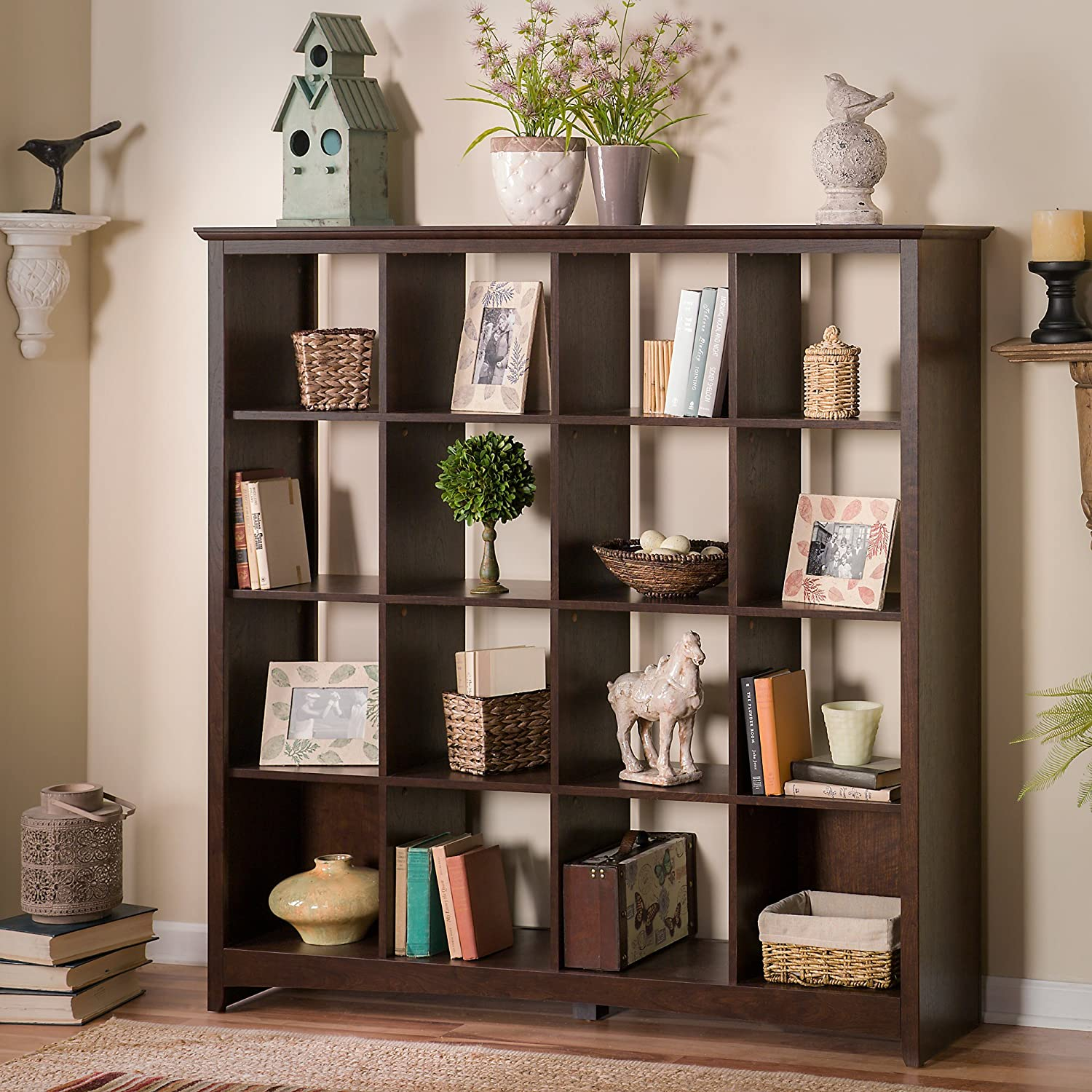 Bush Furniture Buena Vista 16 Cube Large Bookshelf in in, Madison Cherry