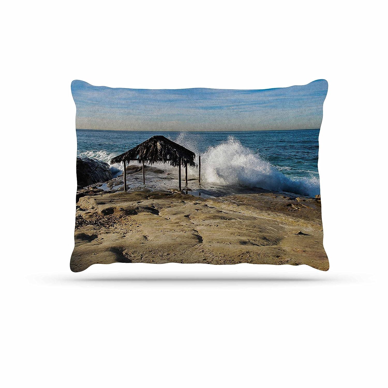 Kess InHouse Nick Nareshni Straw Hut On Beach  bluee Tan Fleece Dog Bed, 30 by 40