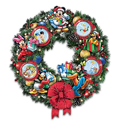 its a magical disney christmas wreath with character ornaments lights up by the bradford exchange
