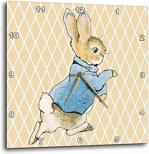 3dRose DPP_79399_2 Peter Rabbit Vintage Art Animals Wall Clock, 13 by 13-Inch